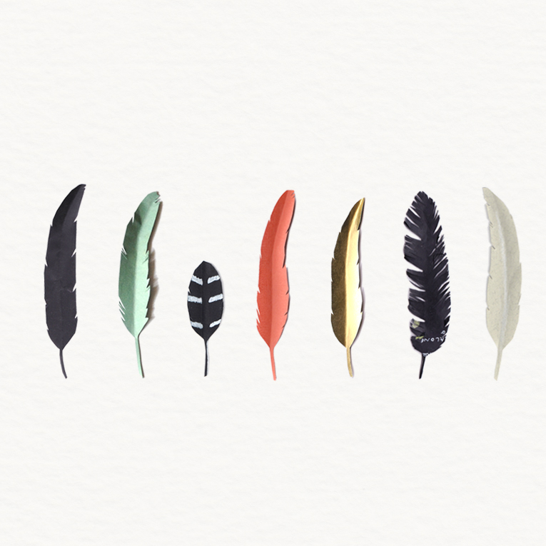Paper feathers, colourful feathers by Sophie Swindells