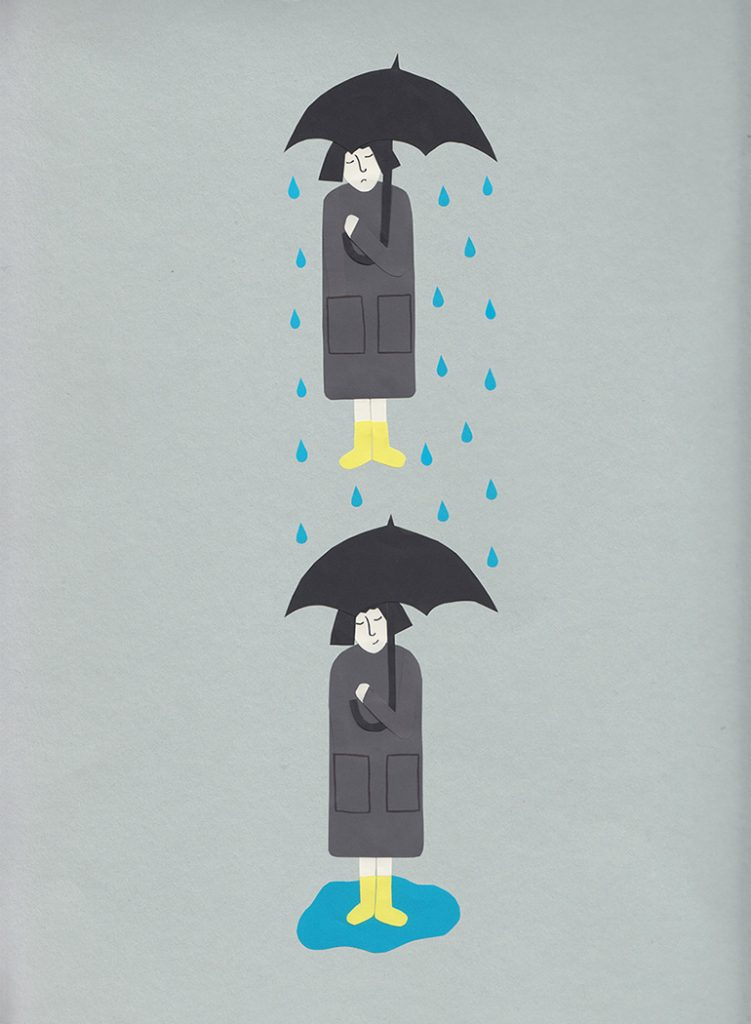 Paper cut illustration. Optimism and pessimism. Woman in the rain under an umbrella.